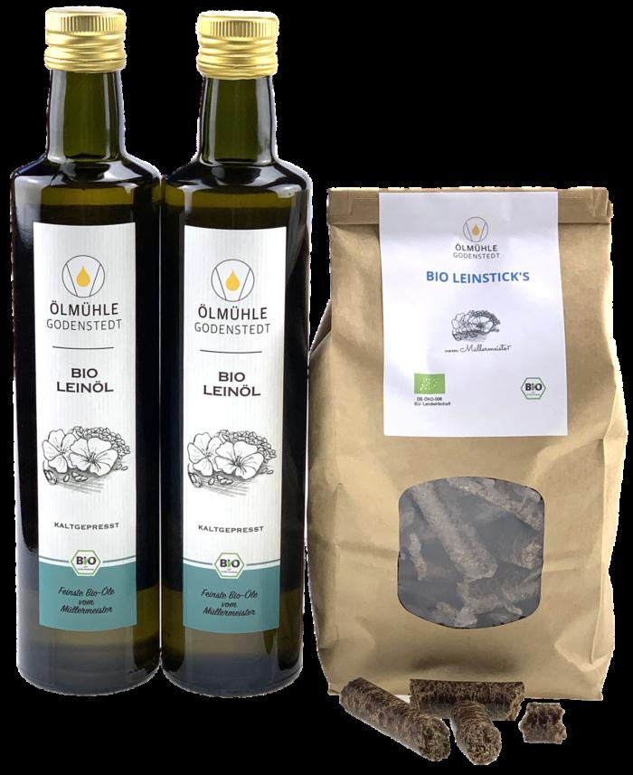 Bio Leinprodukte im Bundle, Bio Leinöl und Bio Leinsticks
