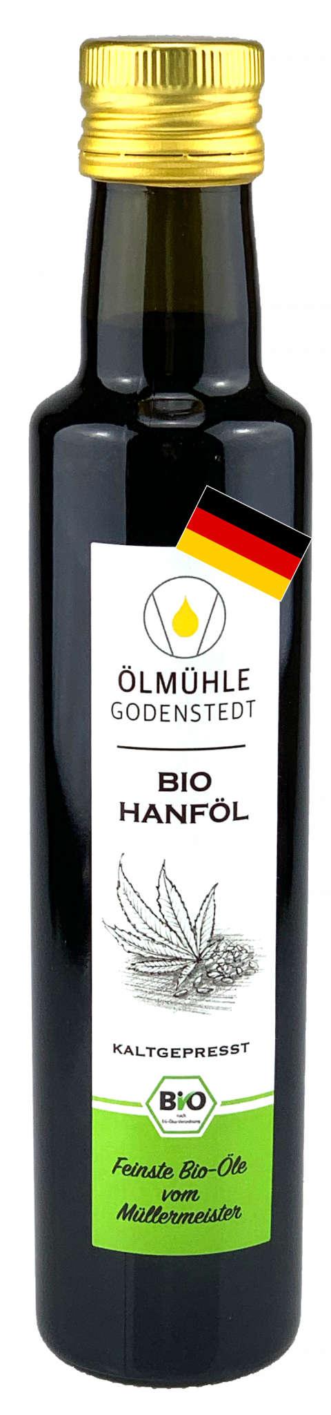 Bio Hanföl kaltgepresst aus deutscher Bio Hanfsaat in einer grünen, runden Flasche
